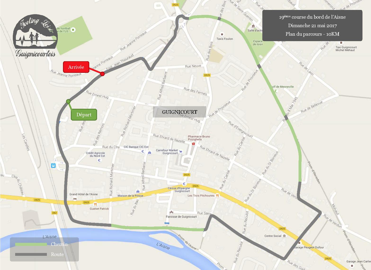 Plan du parcours de la course de GUIGNICOURT